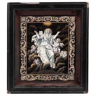 "ATTRIBUTED TO PAUL SOYER (1853-1940) ASUNCIÓN DE LA VIRGEN FRANCE, LATE 19TH CENTURY Painted enamel 10 x 8"" (25.5 x 20.5 cm)"