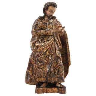 """SAN JOSÉ MEXICO, 18TH CENTURY Gilded and polychrome wood carving 16.5"""" (42 cm) tall"""