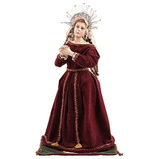 """VIRGEN DOLOROSA MEXICO, 20TH CENTURY Wood carving; articulated arms and glass eyes. includes halo. 27.5"""" (70 cm) tall"""