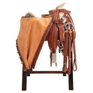 HALF GALA CHARRA SADDLE Saddle with chaps finely chiseled with ironwork