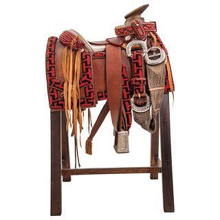 """HALF GALA CHARRA SADDLE """"Chomiteada"""" saddle in red and black """"T"""" fretwork design"""