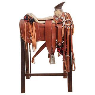 HALF GALA CHARRA SADDLE Smooth saddle with chaps, gun sheath, breastplate