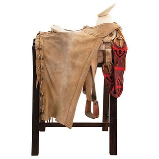FAENA SADDLE MEXICO, 20TH CENTURY Round chair with chaps. Made in Lagos de Moreno, Jalisco.
