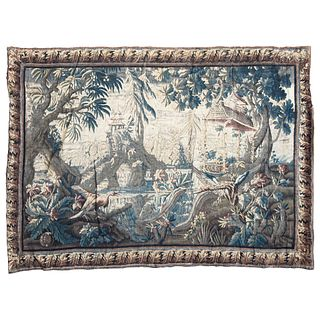 """EUROPEAN TAPESTRY, 18TH CENTURY AVES EN EL JARDÍN Made by hand with wool and cotton fibers 125.1 x 93.3"""" (318 x 237 cm) Lot with recovery price"""