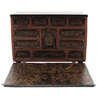"""CABINET SPAIN, 19TH CENTURY In carved and polychrome wood Decorated with birds, floral and plant motifs 19.6 x 27.1 x 14.9"""" (50 x 69 x 38 cm)"""