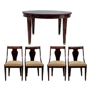 """ROUND TABLE WITH CHAIRS FRANCE Ca. 1900 Mahogany veneer Table: 29.9 x 49.2"""" (76 x 125 cm) Chairs 35"""" (89 cm) tall"""