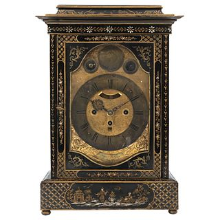 "CHIMNEY CLOCK Chinoiserie Lacquered and hand painted wood Conservation details 19.6 x 11 x 6.2"" (50 x 28 x 16 cm)"