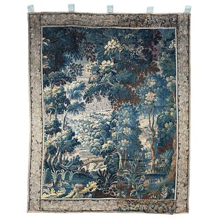 """VERDURE TAPESTRY FRANCE, LATE 18TH CENTURY 107.4 x 85.4"""" (273 x 217 cm) Made by hand with wool and cotton fibers."""