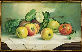 Fall River School Apple Still Life WC Painting