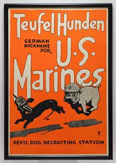 WWI Devil Dog Recruiting Station Poster