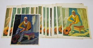 15PC Gordon Steele Jester Lithographs