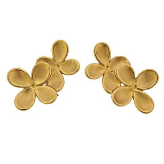 Angela Cummings 1980s 18k Gold Flower Earrings