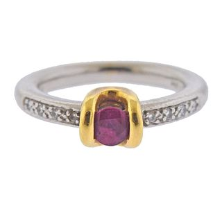 Platinum 18k Gold Diamond Ruby Ring