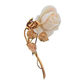 14k Gold Carved Coral Rose Flower Brooch Pin