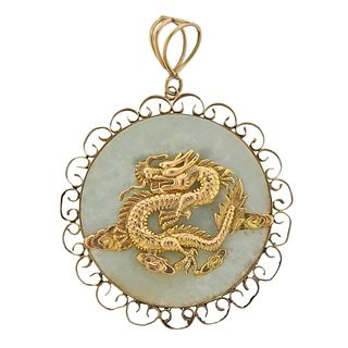 14k Gold Jade Dragon Large Pendant