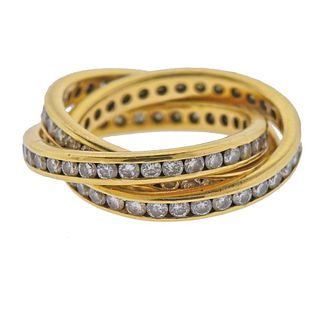 18k Gold Diamond Rolling Band Ring