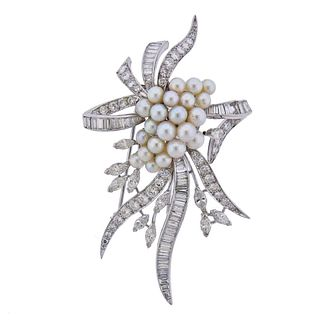 1950s Platinum Diamond Pearl Brooch Pin