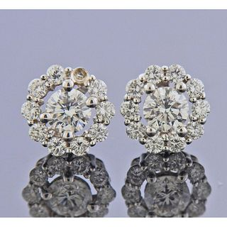 Memoire 18k Gold Diamond Flower Stud Earrings
