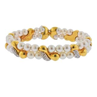 18k Gold Diamond Pearl Bracelet