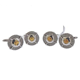 Alot 18k Gold Steel Cufflinks 2 Pairs Lot