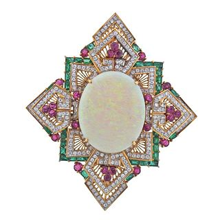 18k Gold 5.40ctw Diamond Opal Ruby Emerald Large Pendant