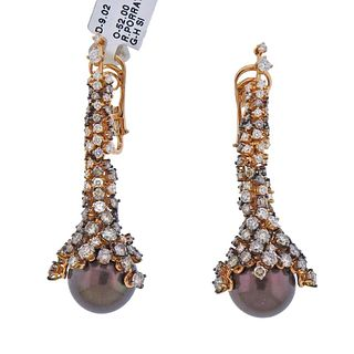 Porrati 9.02ctw Fancy Diamond Chocolate Pearl Gold Earrings