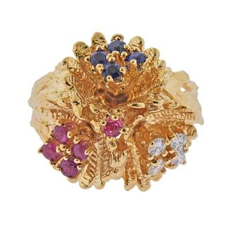 14k Gold Diamond Ruby Sapphire Flower Dome Ring