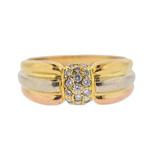 Cartier 18k Gold Tri Color Diamond Ring