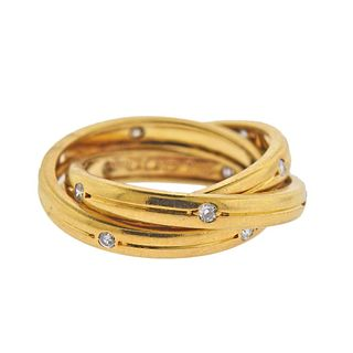 Cartier 18k Gold Diamond Rolling Band Ring