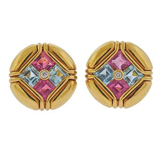 Bvlgari Bulgari 18k Gold Diamond Tourmaline Topaz Earrings