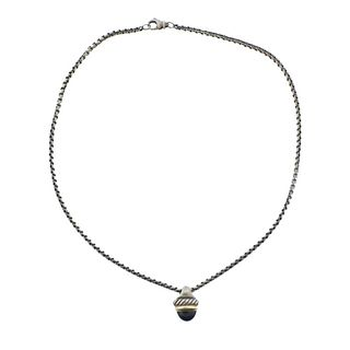 David Yurman Sterling Silver 14k Gold Onyx Necklace