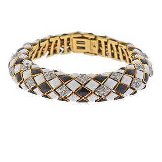 David Webb 18k Gold Platinum Diamond Enamel Bracelet