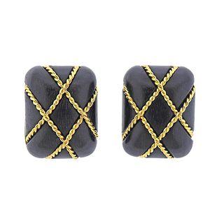Seaman Schepps 18k Gold Wood Caged Earrings