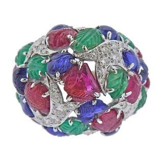 David Webb Gold Platinum Tutti Frutti Diamond Ring