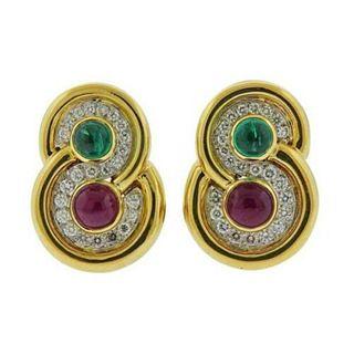 David Webb 18k Gold Platinum Diamond Emerald Ruby Earrings