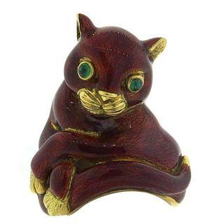 Whimsical Large David Webb Red Enamel Emerald Gold Cat Ring