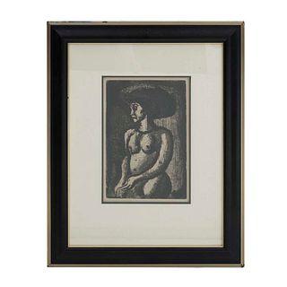 Georges Henri Rouault. Femme. Firmado y fechado en placa 1928. Grabado, edición póstuma. Enmarcado. 29 x 20 cm.