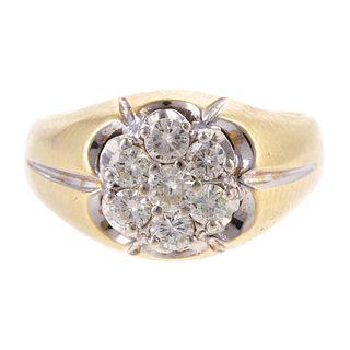 A Vintage 14K Diamond Cluster Ring