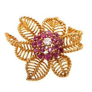 A Vintage Ruby & Diamond Flower Brooch in 18K