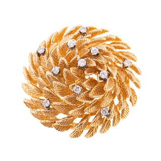 A 14K Domed Leaf Brooch with Diamonds