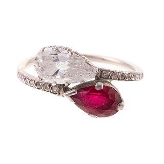 "A Vintage Diamond & Ruby ""Moi et Toi"" Ring in 14K"