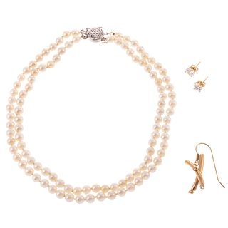 A Double Strand of Pearls & Earrings