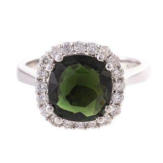 A Green Tourmaline & Diamond Ring in 18K