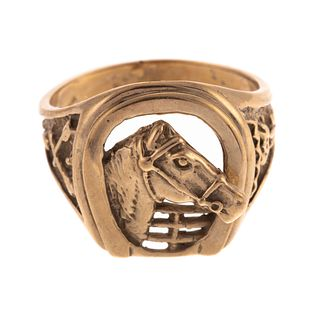 A Gold Equestrian Ring with Horse & Horseshoe