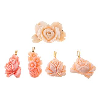 A Carved Angel Skin Coral Pin & Floral Pendants