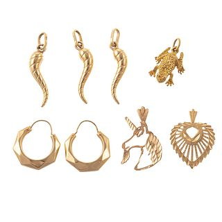 A Pair of Faceted 14K Hoops & Several 14K Pendants