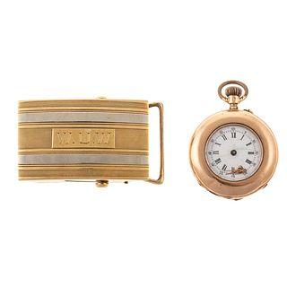 A 14K Antique Louis Jacot Pocket Watch & Buckle