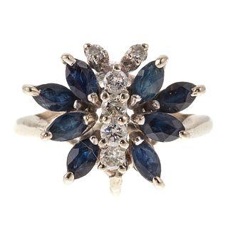 A Sapphire & Diamond Butterfly Ring in 14K
