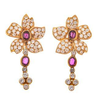 A Pair of 18K Diamond & Ruby Flower Drop Earrings