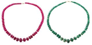 A Pair of Ruby & Emerald Bead Necklaces